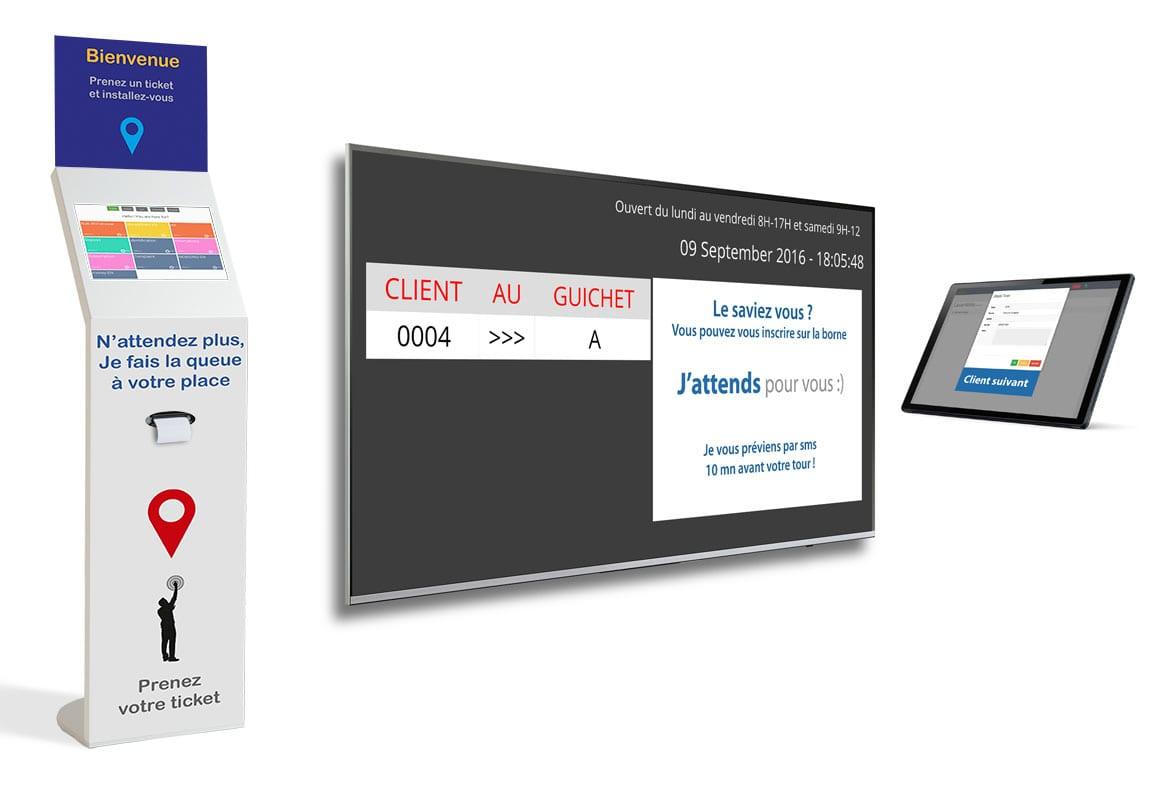 borne avec écran de file d'attente pour guichet