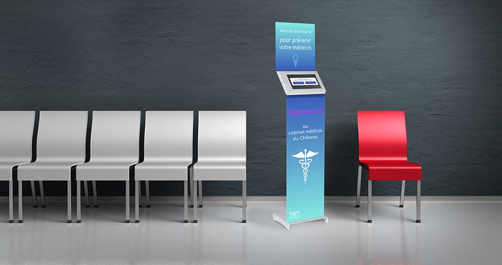 Kiosk with a solution to accommodate patients